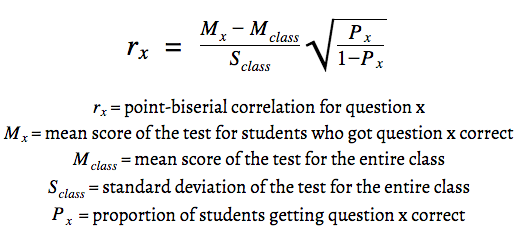point biseral formula
