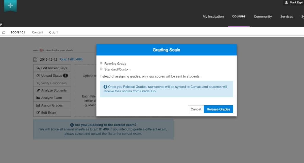 Sync GradeHub answer sheets to Blackboard Grade Center
