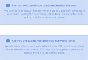 GradeHub information on 100 and 150 question answer sheet
