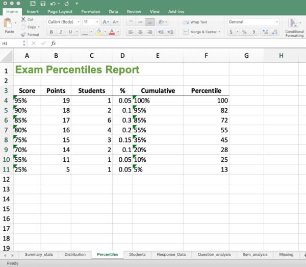 GradeHub Excel Workbook - Percentiles