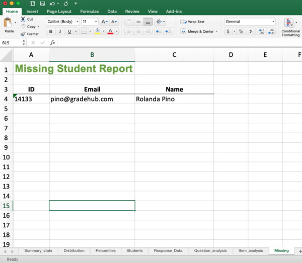 Missing student report