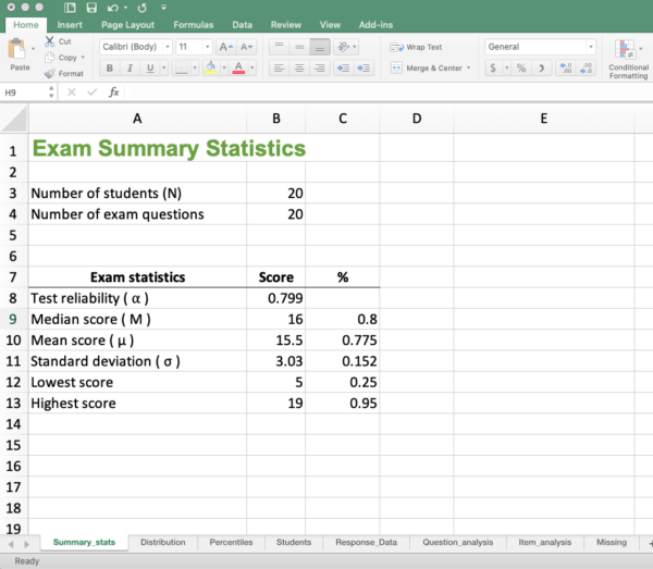 GradeHub Excel Workbook - Exam statistics including Cronbach's Alpha
