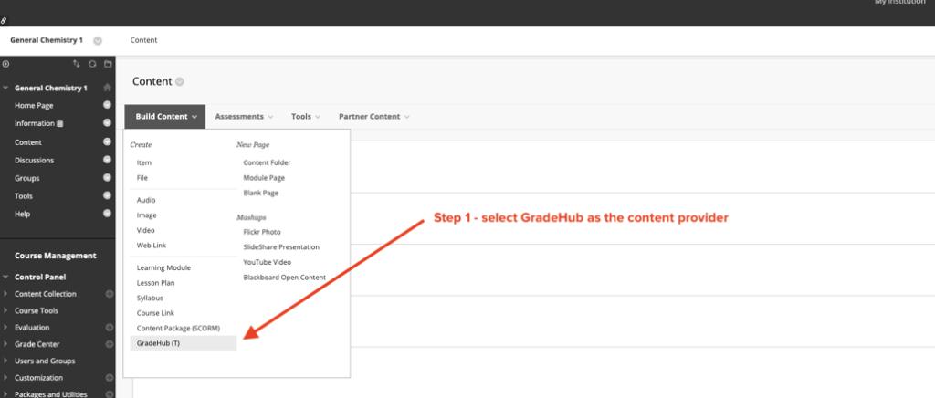 GradeHub Online - Blackboard Content